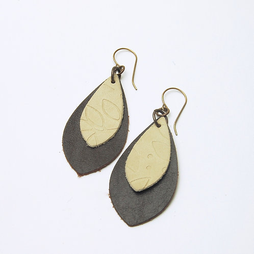 Chocolate & Tan Embossed Leather Earring
