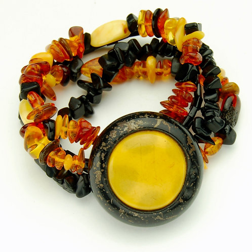 Honeyed Amber Button Bracelet