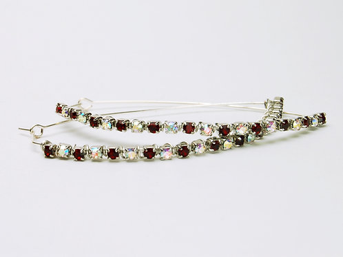 Ruby & Crystal Hoop Earrings