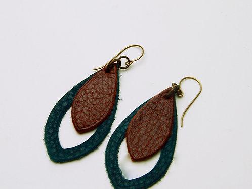 Navy & Wine Leather Earring