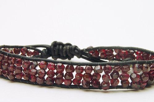 Garnet & Leather Bracelet