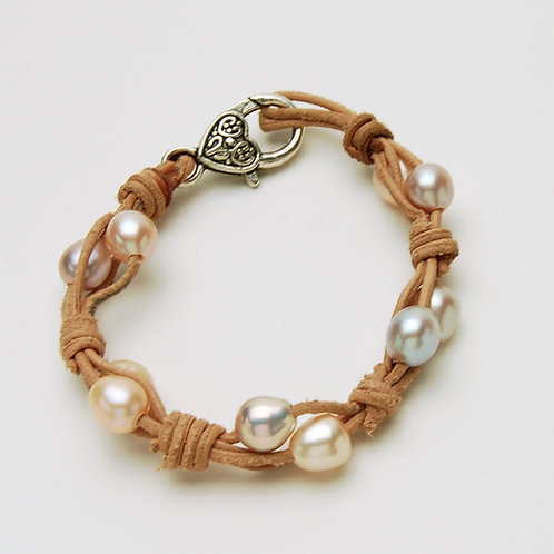 Pearl & Leather Knotted Bracelet