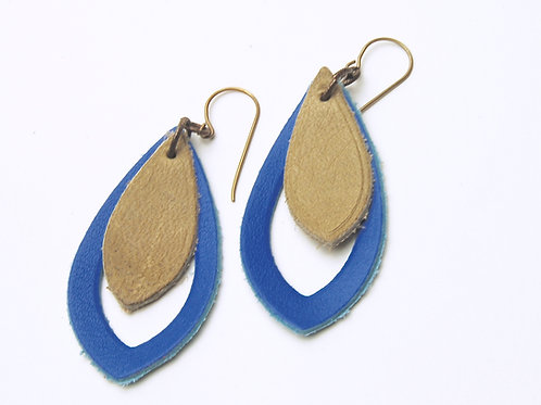 Blue & Tan Leather Earring
