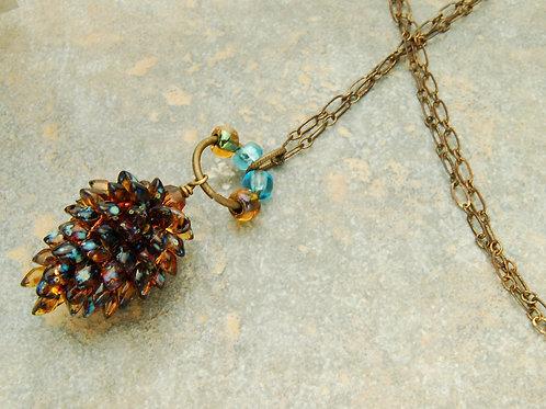 Watercolor Pinecone Necklace