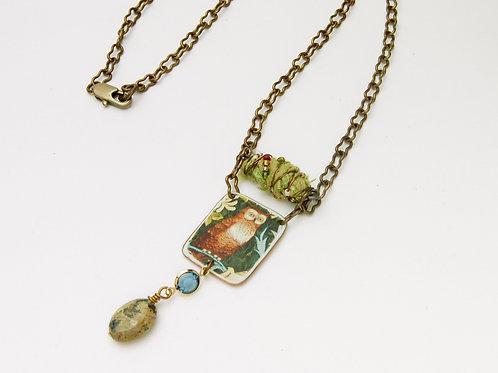William Morris Owl Necklace