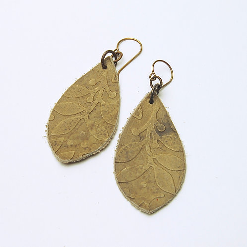 Tan Embossed Leather Earring