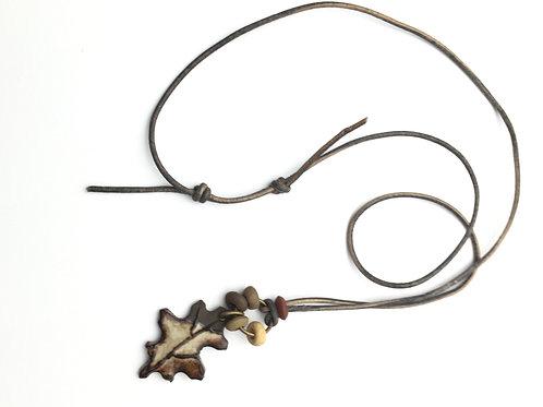 Oak Leaf Pottery Necklace