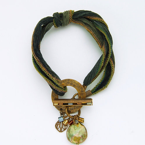 Boho Green Raw Silk Bracelet