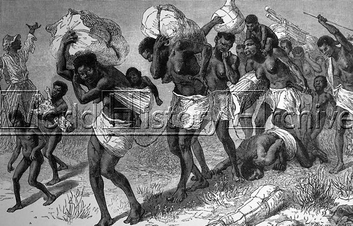 Disegno di donne condotte in schiavitù dell' Africa Centrale nel 1895.