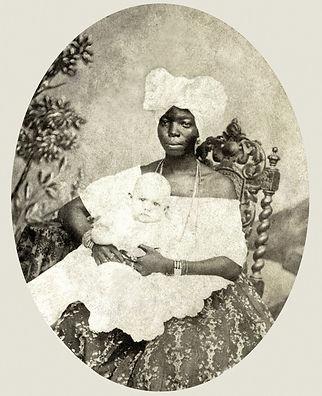 Una tata con bambino, fotografata nel 1870 a Salvador de Bahia