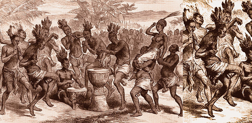 Gli schizzi del tenente Cameron in Africa centrale mostrano un ballo nuziale a Kiraiyeli