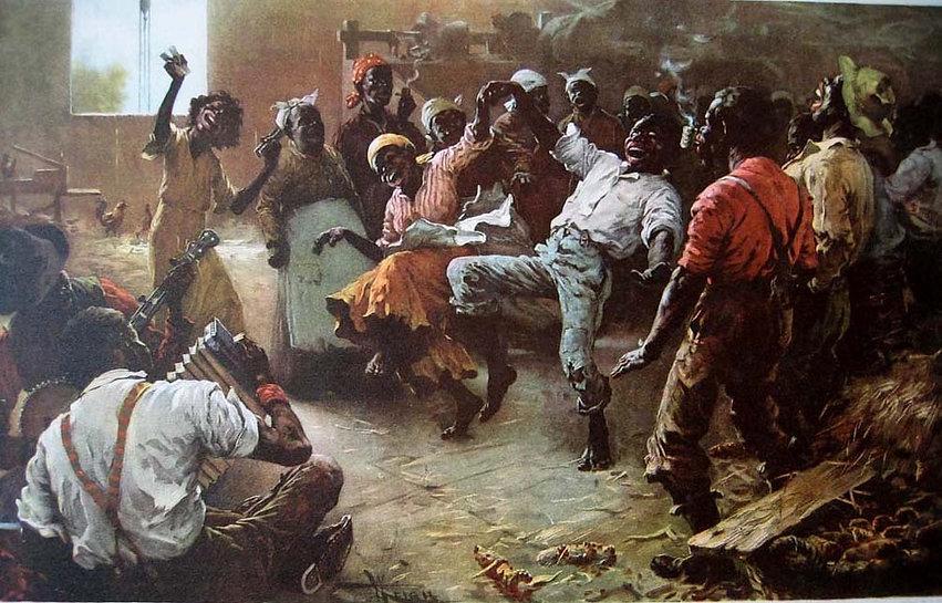 Dipinto che ritrae degli schiavi che ballano la cakewalk verso la fine del19° secolo