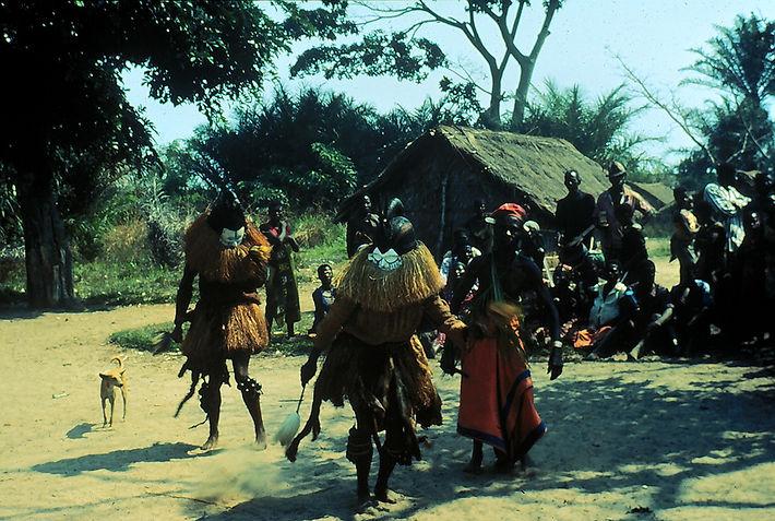 Northern Suku mahamba masks, Democratic Republic of the Congo, 1976. Photo by Arthur Bourgeois.