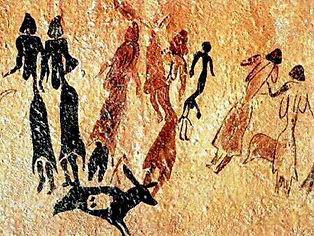 Pitture rupestri. Donne che ballano intorno a un uomo, nella grotta di Cogull, a Lleida.