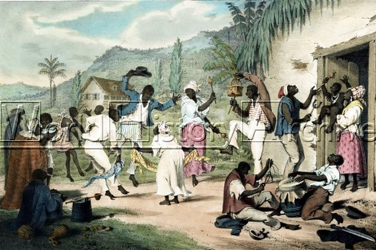 Dipinto di Richard Bridgens tra il 1838 e il 1845. Ballie musicheafricane di ex schiavi a Trinidad  (World History Archivehttps://worldhistoryarchive.co.uk/)