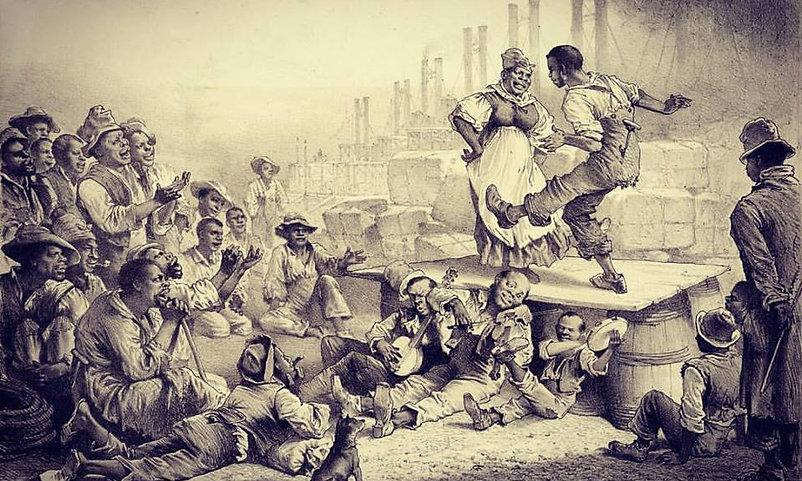 Schiavi africaniche ballano nel porto della città di Charleston agli inizi del 19° secolo