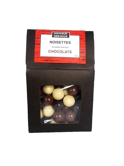 Noisettes enrobées aux trois chocolats