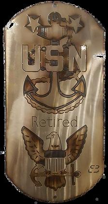 "Master Chief Retired Eagle 16"" Dog Tag"