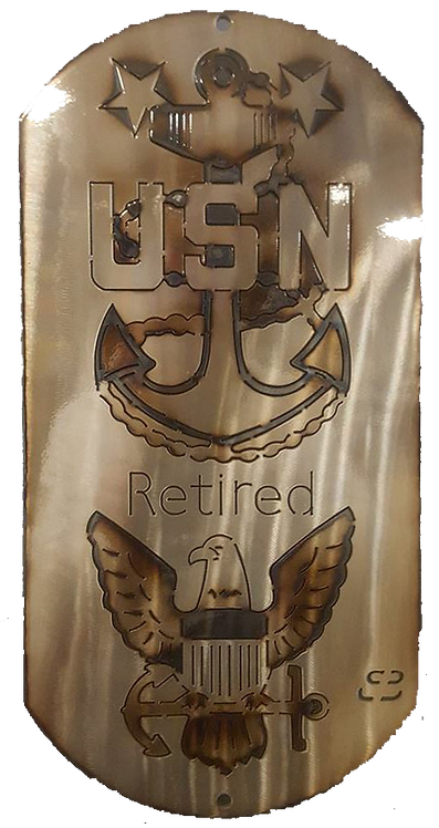 "Master Chief Retired Eagle 16"" Dog Tag"
