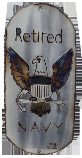 """12"""" Retired Navy Dog Tag"""