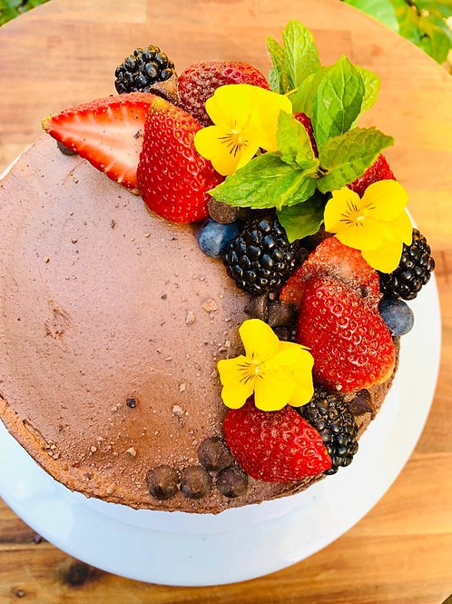 Chocolate Cake,  Berries, Vanilla Icing and Chocolate Frosting - GF, DF, RSF