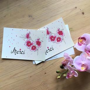 'Merci' roze bloemetjes