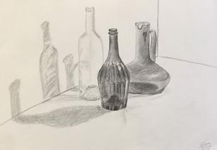 3 Niet-gekleurde flessen