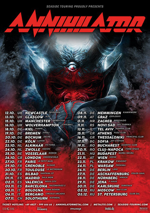 """ANNIHILATOR add more UK dates to the """"2019 TOUR FOR THE DEMENTED""""."""