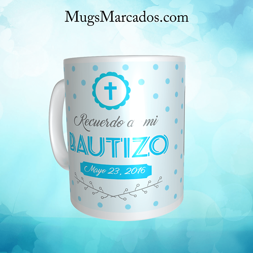 RECORDATORIO PARA BAUTIZO | PUNTOS AZULES | MUGS PARA BAUTIZO