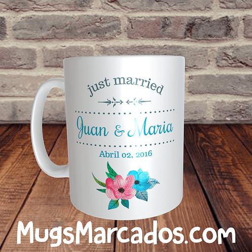 RECORDATORIO PARA MATRIMONIO | JUST MARRIED 2 | MUGS PARA BODAS