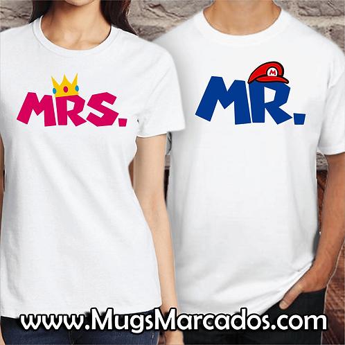 CAMISETA PARA NOVIOS | AMOR DE MARIO BROS | MRS & MR | REGALOS PARA NOVIOS