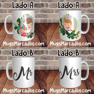 PAREJA DE MUGS PARA NOVIOS | MR & MRS | MUG PAREJA