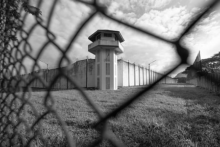 Prison watchtower protected by wire of p