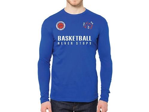 """BASKETBALL NEVER STOPS"" Long Sleeve 100% Cotton T-shirt"