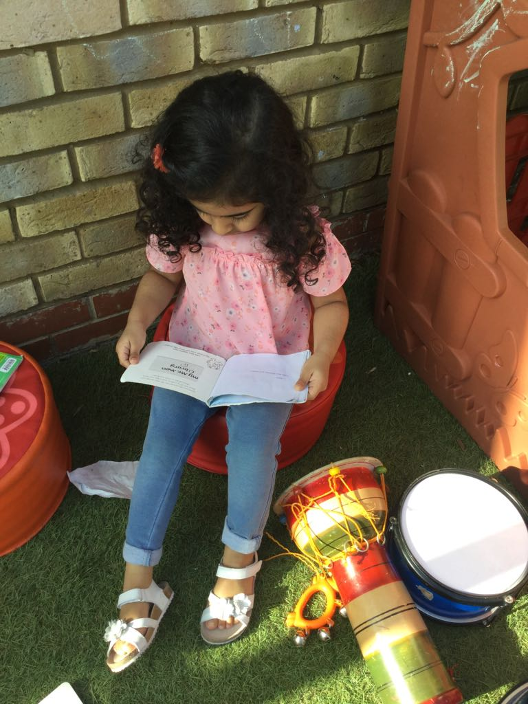 Outdoor reading Activity in Sahan Nursery