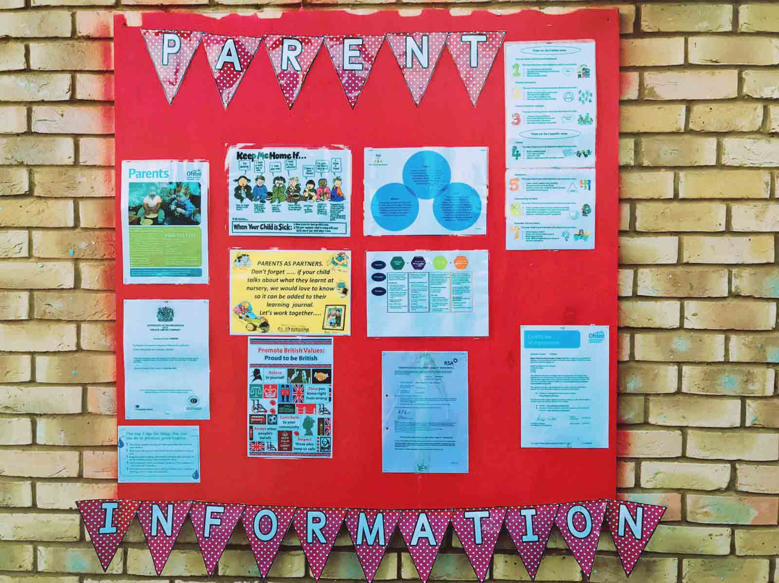 Sahan Nursery Display Board Parent Information Board