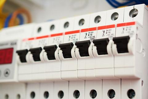 Fuse box, power supply circuit breakers.