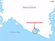 Location of Small Island in Caribbean Sea, Bocas del Toro, Panama