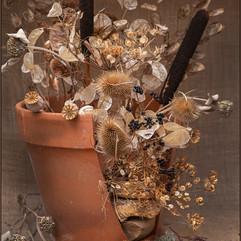 Dried Flowers Broken Pot