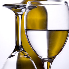 Green bottle reflection