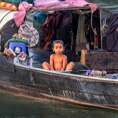 Bathtime on a Vietnamese Houseboat