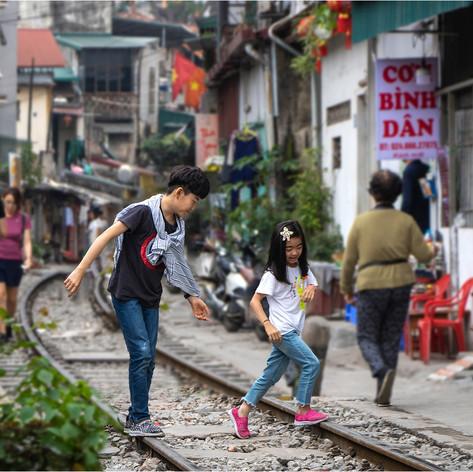 Children playing in Train Street