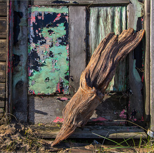 Old wood against door