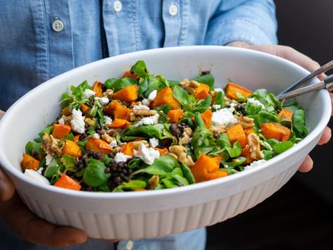 Belugalinsen-Salat mit Kürbis und Feta