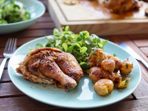 Roadkill Chicken mit Smashed Potatoes