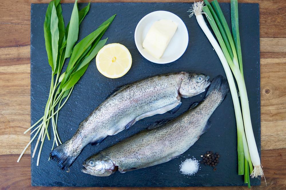 Zutaten Forelle Fisch Grill grüner Sparger Low Carb Rezept Grill BBQ Elektrogrill