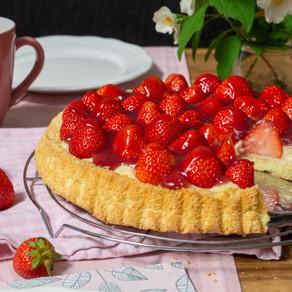 Erdbeerkuchen mit Pudding