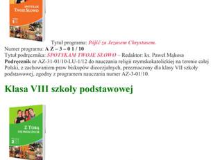 Wykaz podręczników do nauki religii dla klas V - VIII na rok szkolny 2020/2021