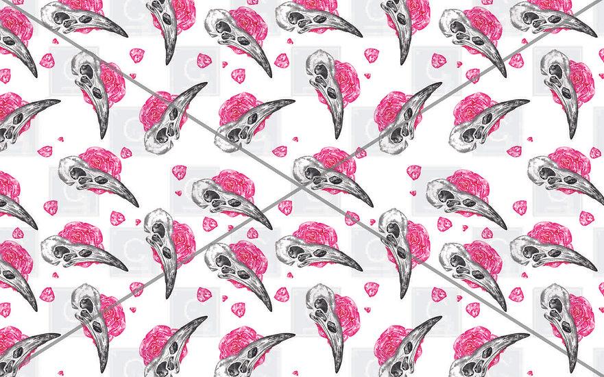 Hand painted watercolour bird skull rose Pink pattern tiles