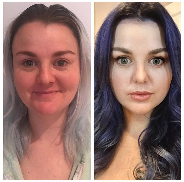 Before and After - Glam hair and make-up - Full color transformation and extensions